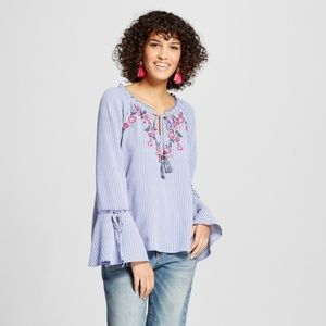 XHILARATION Embroidered Bell Sleeve Striped Top M